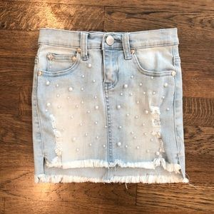 6f6525488d Pinc Premium Girl's Pearl Distressed Denim Skirt